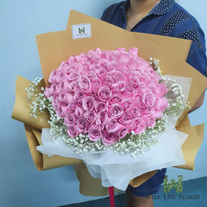 99 rose hand bouquet