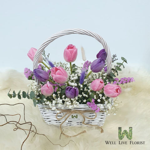 Camila  Flower Box Comprising of Tulips, Baby's Breath, Statice and Green Foliage