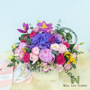 Flower box of fresh cut Peony, Hydrangea, Tulips, Rose,  Eustoma, Carnation, Flower filler and foliage.