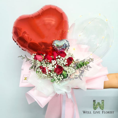Fresh Cut 10 Stalk Rose with Baby Breath, Foliage and Balloon with LED-light Hand Bouquet