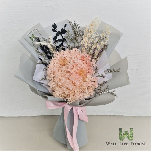 Hand Bouquet of Preserved Roses, Hydrangea and Dried Foliage