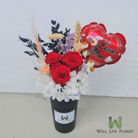 Flower cup Of Preserved Roses, Hydrangea, Dried Foliage and love balloon