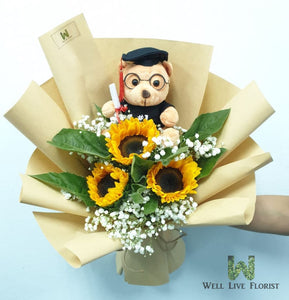 Sunflower, Baby's Breath and Graduation Bear