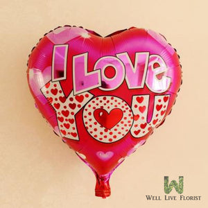 Add-On 18 Inches Helium Filled Round (I Love You) Floating Mylar Balloon