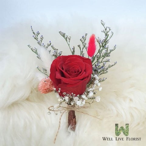Boutonniere 02  Preserved Red Rose, Preserved Flower and Dried Caspia
