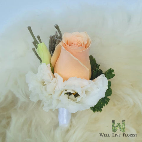 Boutonniere 01  Fresh Cut Champagne Rose, White Eustoma, Silver Burnia and Green Foliage