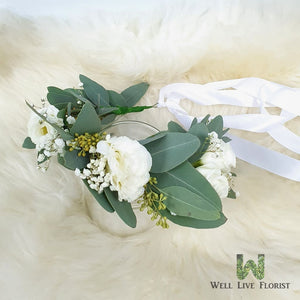 Fresh Cut White Eustoma, Baby's Breath and Foliage Flower Crown