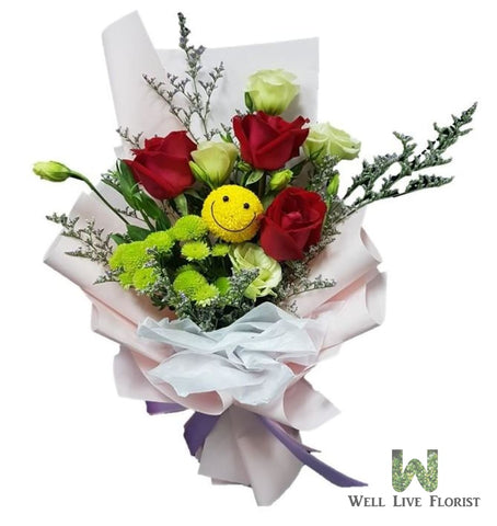 Hand Bouquet of Eustoma, Roses And Pom Pom