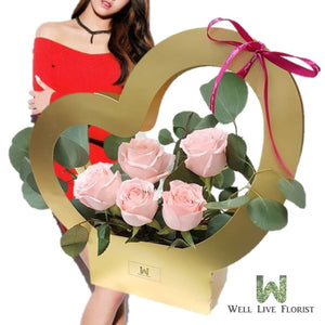 Flower Box of 05 Fresh Cut Pink Color Roses