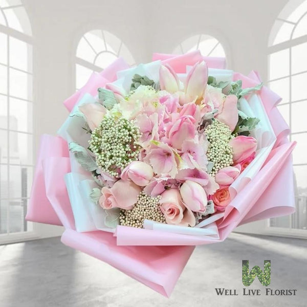 Hand Bouquet of Pink Hydrangea, Roses and Tulips Flower