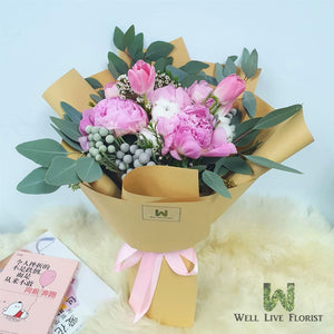Hand Bouquet of fresh cut Pink Peony, Tulips, Cotton Flower, Silver Brunia and Foliage