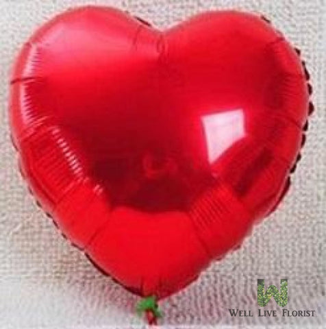 Add-On 18 Inches Helium Filled Red Heart Floating Mylar Balloon