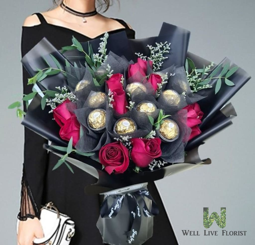 12 Red Roses and 12 Ferrero Rocher Chocolate