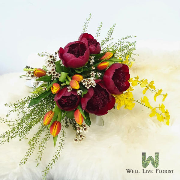 Bridal Bouquet - Peony, Tulips, Wax Flower , Golden Ramsey and Foliage