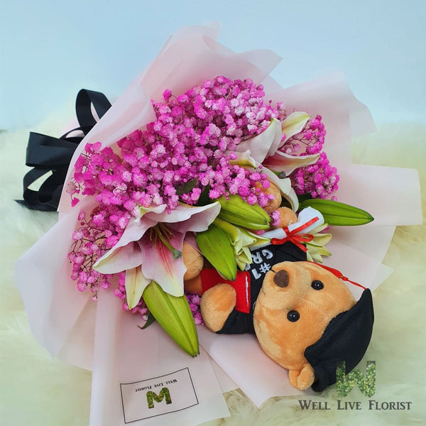 Pink Lilies & Baby's Breath And 01 Graduation Teddy Bear Hand Bouquet