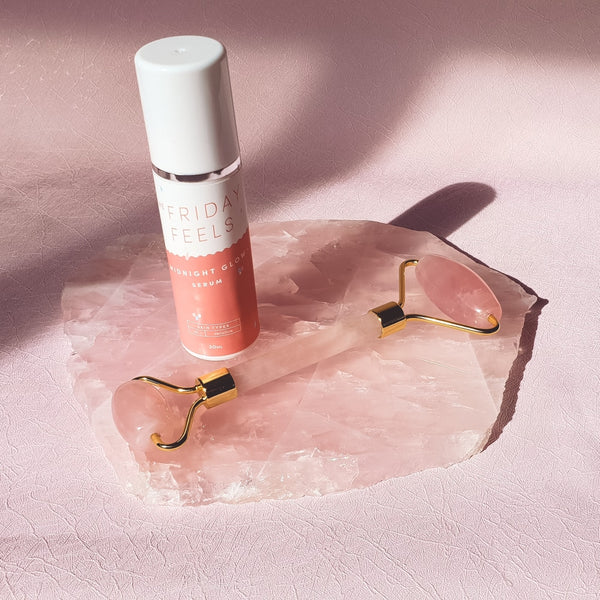 Crystal Glow Duo - Rose Quartz Roller & Midnight Glow Serum Bundle - The Friday Feels