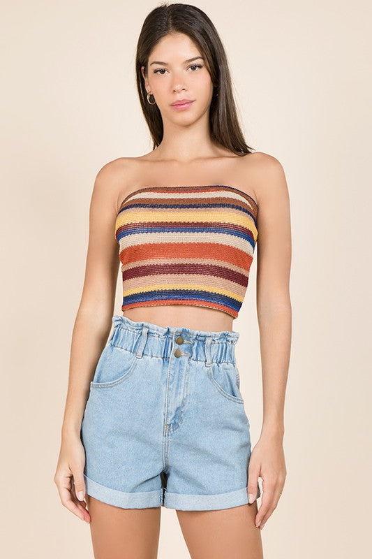 strapless striped top