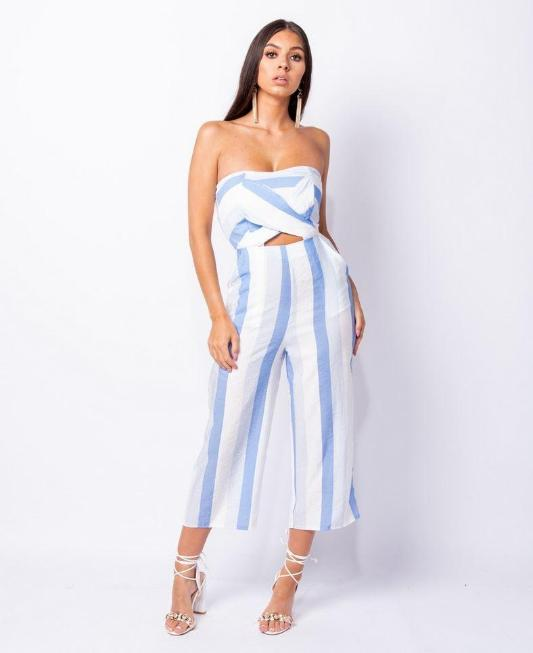 striped keyhole jumpsuit