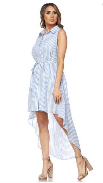 Hi Lo Striped Denim Dress