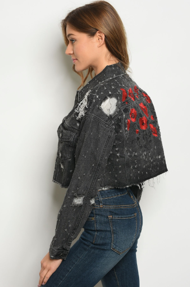 Poppy Embroidered Crop Jacket