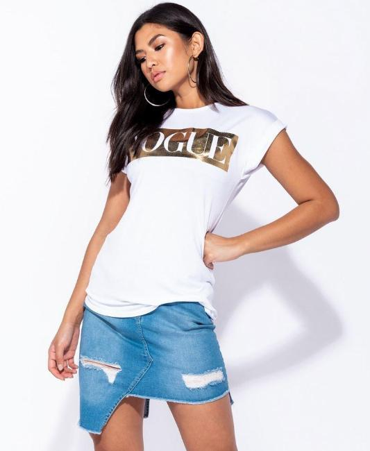 VOGUE Status Roll Up Sleeve Tee