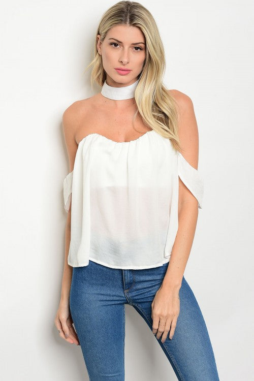off the shoulder choker top