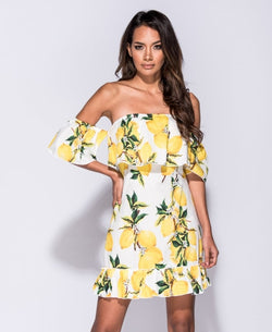 lemon print off the shoulder dress