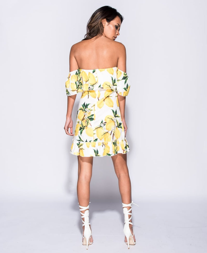Lemon Print Bandeau Dress