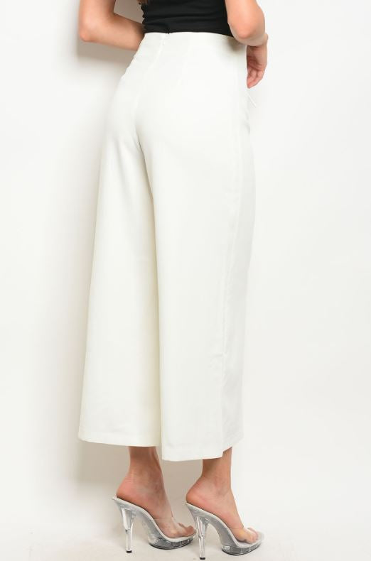 Ivory High Waisted Trousers