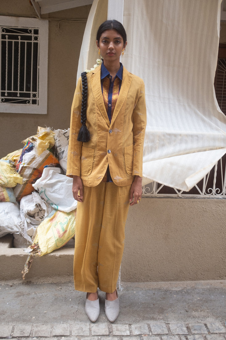 Azad Trousers in Mustard - Suket Dhir