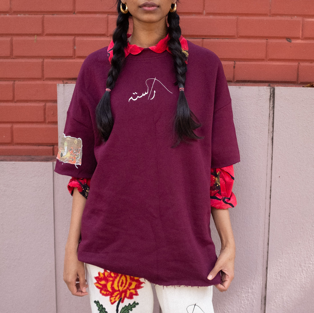 Maroon Sleeve Patch T-Shirt - Rastah