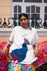 Blockprint Peacock T-Shirt - RASTAH