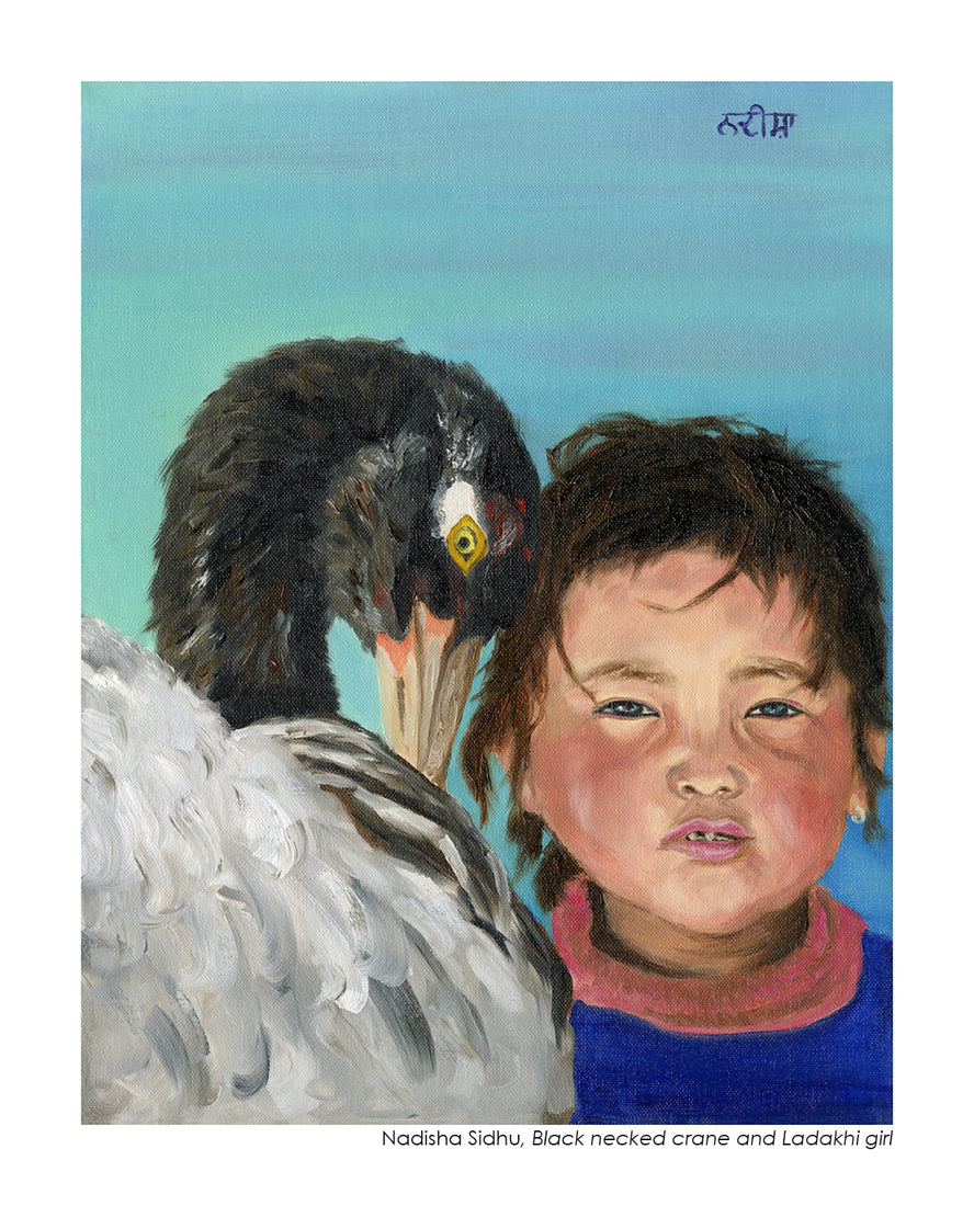 Black Necked Crane And Ladakhi Girl - Nadisha Sidhu