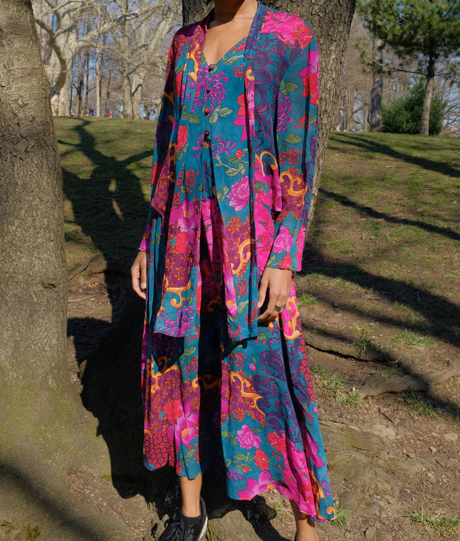 Vintage - 1980s Kimono Blouse & Skirt by Carole Little