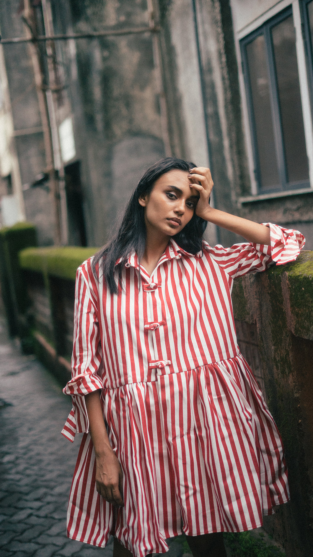 Striped Denim Shirt Dress - I.AM.ISIGO