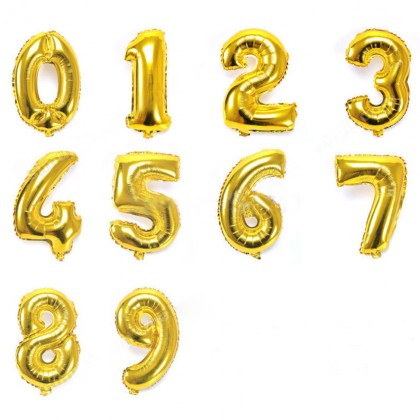 "16"" Foil Balloon Numbers - Gold"