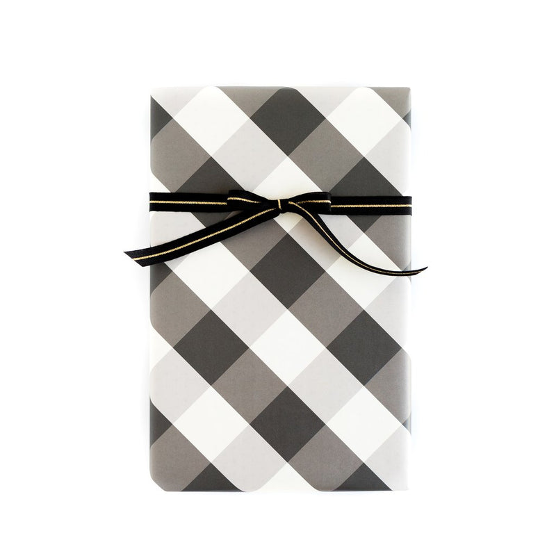 BLACK AND WHITE PLAID BUFFALO CHECK / BLACK DOT WRAPPING PAPER SHEETS