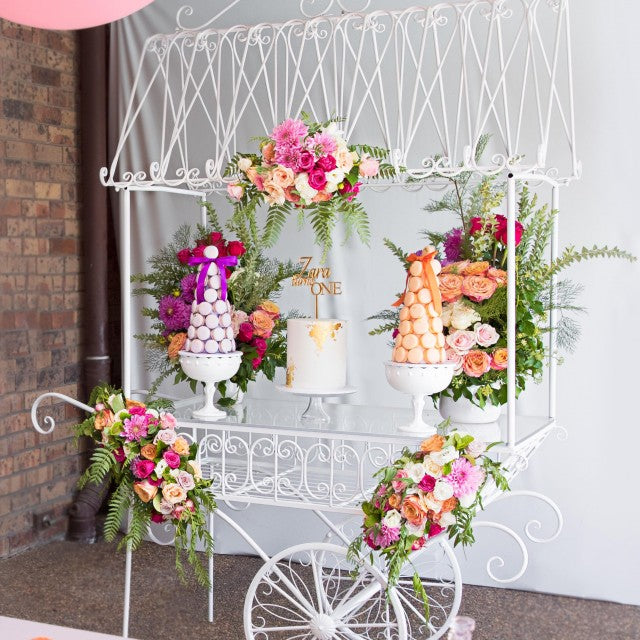 Large White Flower Cart