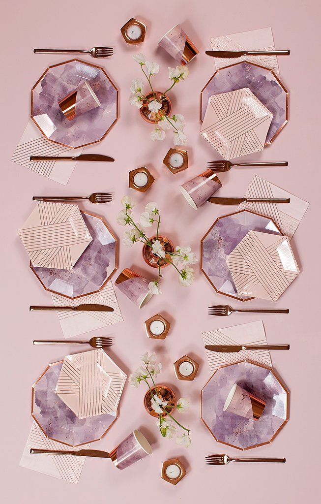 Amethyst- Purple Watercolor & Rose Gold Large Plates