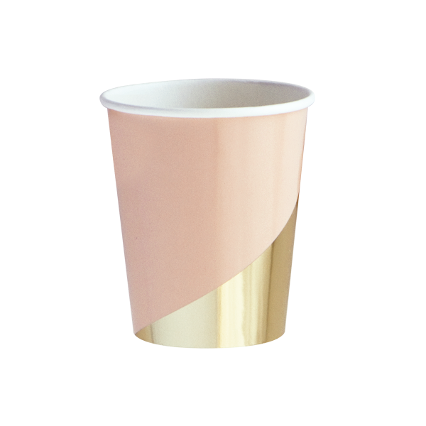 Peach Blush Colorblock Paper Cups
