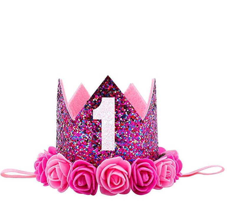 Rainbow Pink Glitter Birthday Crown
