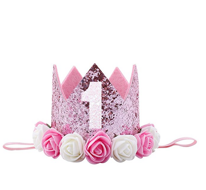 Pink Glitter Birthday Crown