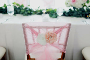 Chiffon Ruffle Chair Cover - Baby Pink