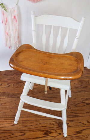 Wooden High Chair- White