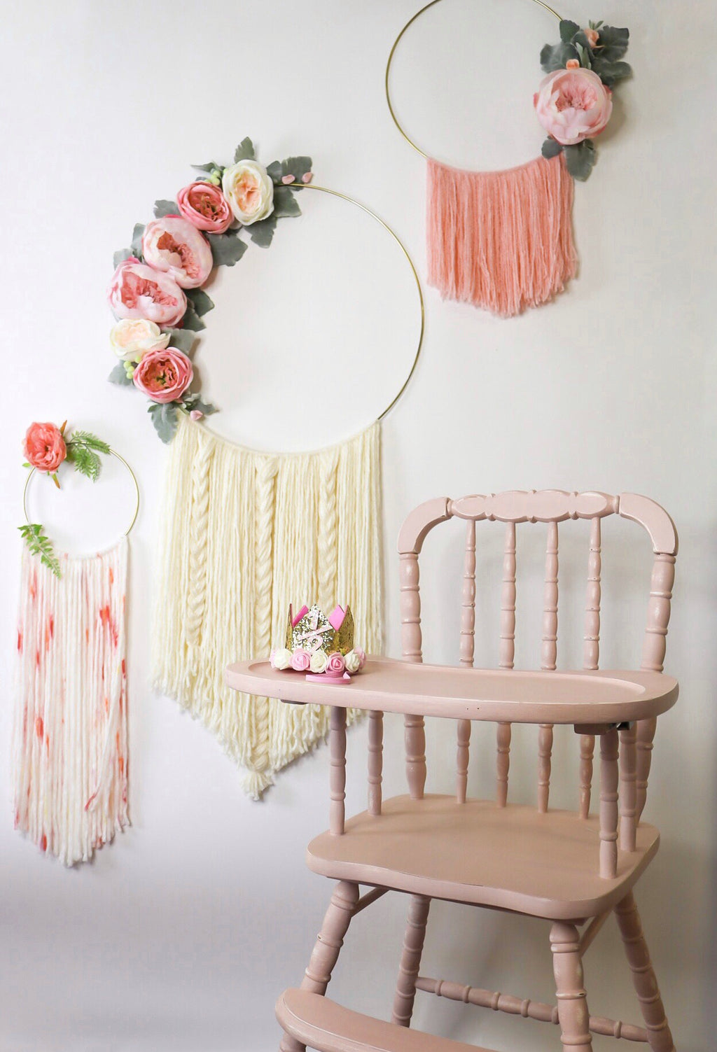 Wooden High Chair- Dusty Pink