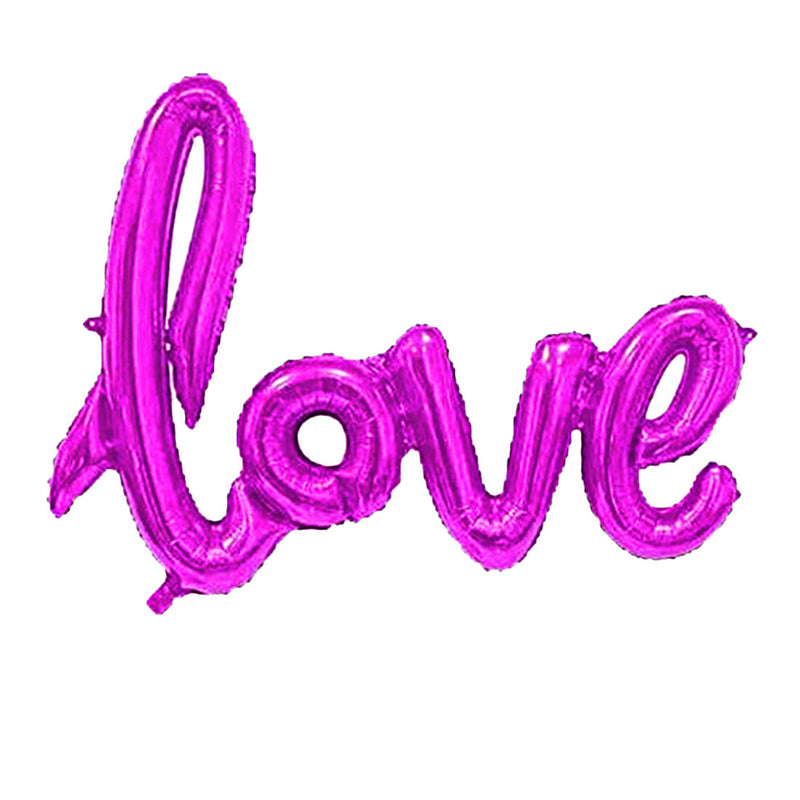 LOVE Hot Pink Script Balloon