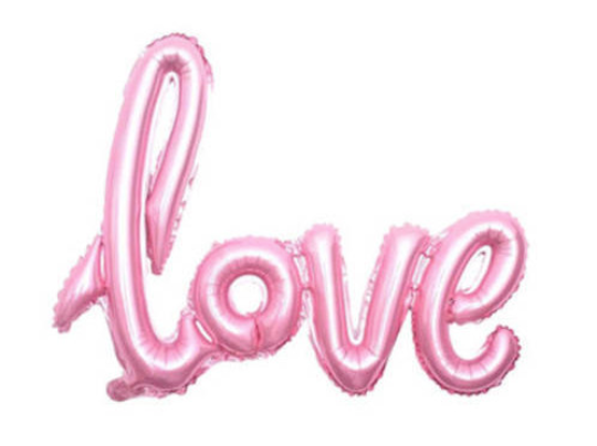 LOVE Pink Script Balloon