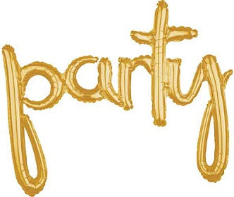 PARTY Gold Script Balloon
