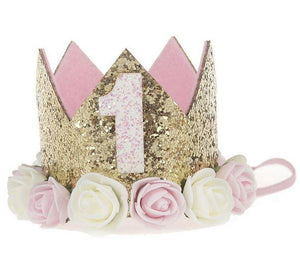 Gold & Soft Pink Glitter Birthday Crown
