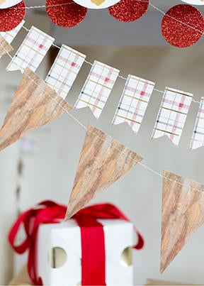 Holiday Wood Pennant Banner